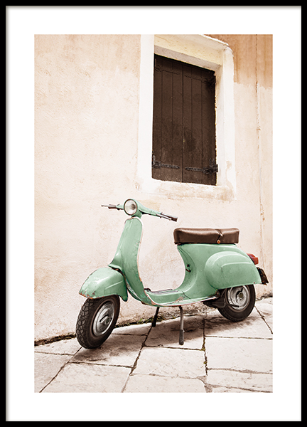 Green Scooter Poster