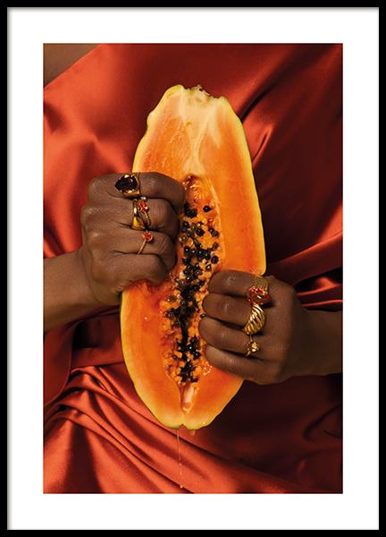 Squeezing Papaya Poster