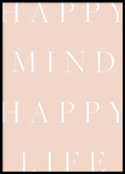 Happy Mind Happy Life Poster