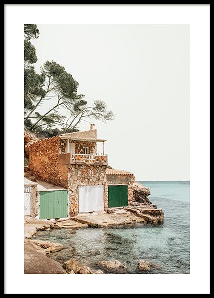 Mediterranean Boat House Poster
