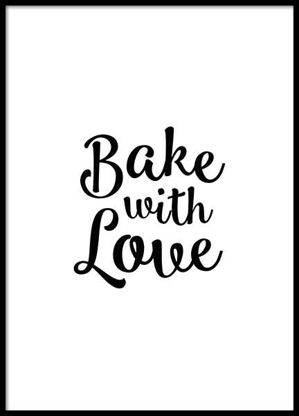 Bake With Love Poster in the group Posters & Prints / Text posters at Desenio AB (2019)