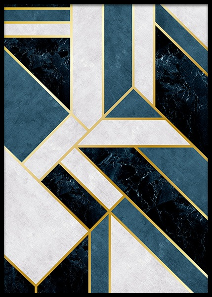 Geometric Blue Poster in the group Posters & Prints / Gold & silver at Desenio AB (2030)