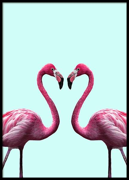 Flamingo Heart Poster in the group Posters & Prints / Insects & animals at Desenio AB (2036)