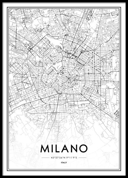 Milano Map Poster in the group Posters & Prints / Black & white at Desenio AB (2047)