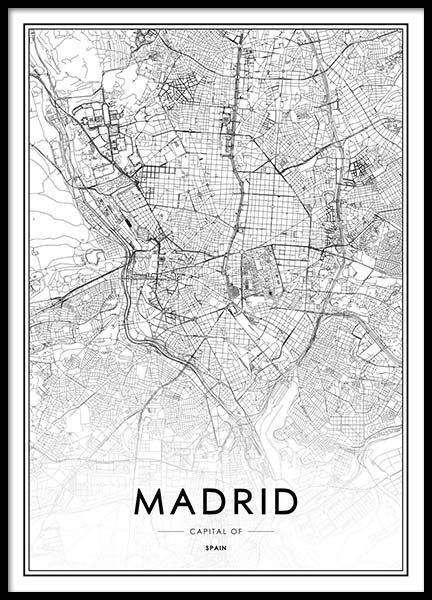 Madrid Map Poster in the group Posters & Prints / Black & white at Desenio AB (2050)