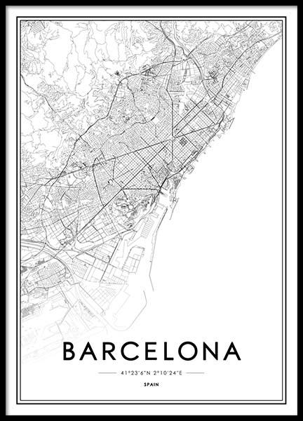 Barcelona Poster in the group Posters & Prints / Black & white at Desenio AB (2051)