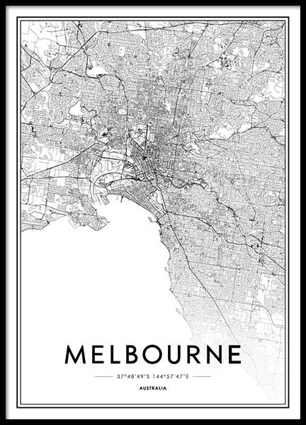 Melbourne Poster in the group Posters & Prints / Maps & cities at Desenio AB (2054)