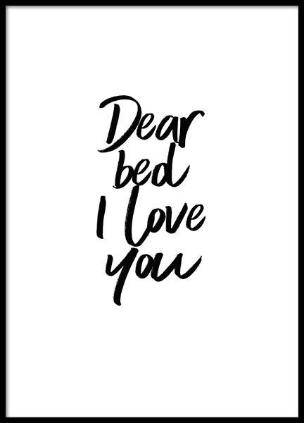 Dear Bed Poster in the group Posters & Prints / Text posters at Desenio AB (2058)