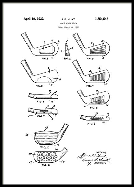 Golf Club Patent Poster in the group Posters & Prints / Black & white at Desenio AB (2133)