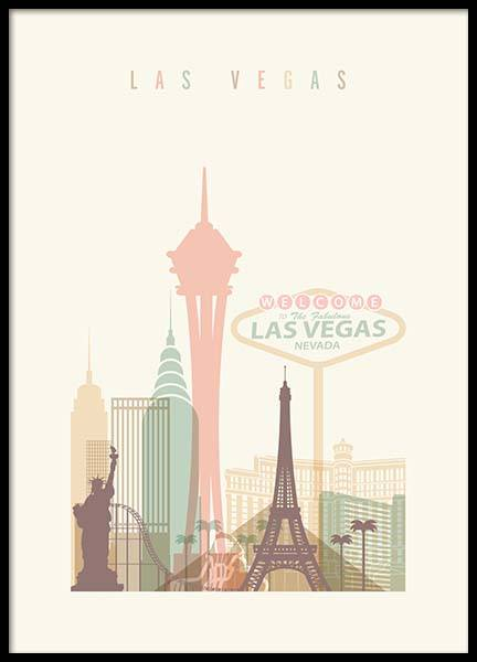 Las Vegas Skyline Poster in the group Posters & Prints / Graphical at Desenio AB (2138)
