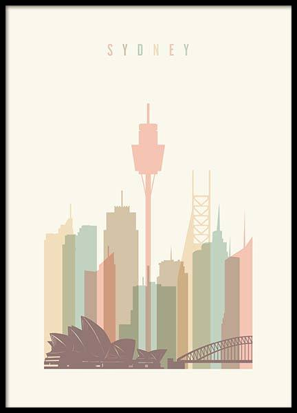 Sydney Skyline Poster in the group Posters & Prints / Maps & cities at Desenio AB (2139)