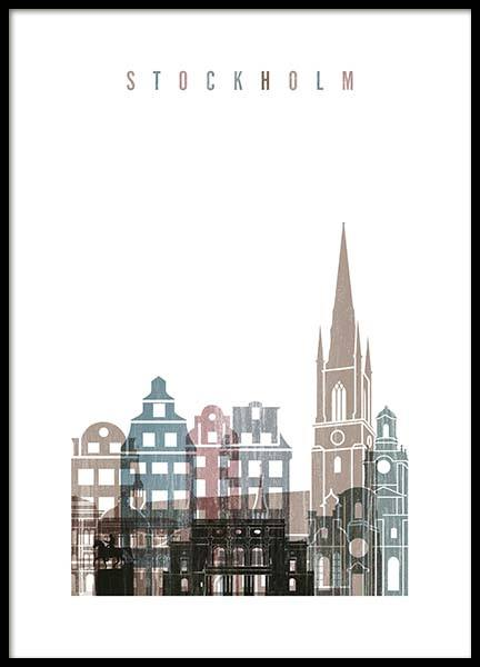 Stockholm Skyline Poster in the group Posters & Prints / Maps & cities at Desenio AB (2142)
