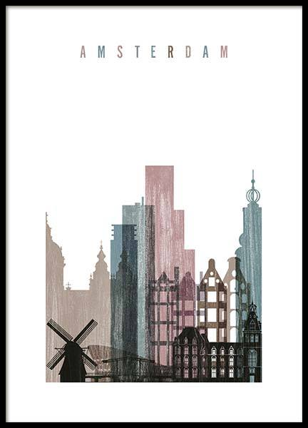 Amsterdam Skyline Poster in the group Posters & Prints / Maps & cities at Desenio AB (2144)
