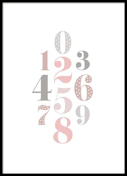 Numbers Pink  Poster