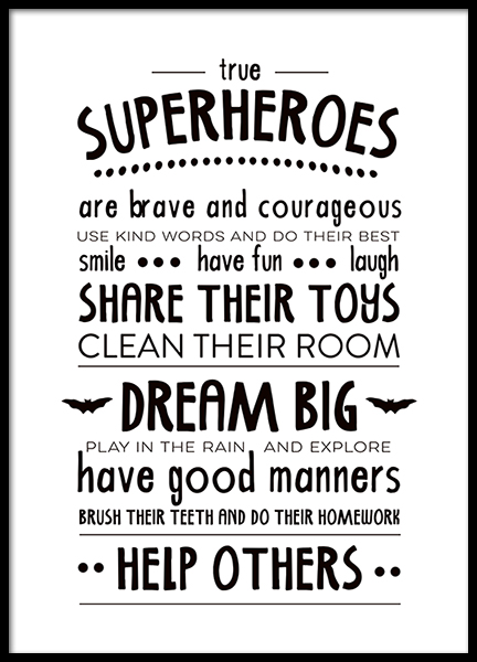 Rules Of A Superhero  Poster in the group Posters & Prints / Kids posters / Kids' posters at Desenio AB (2263)