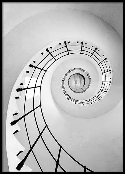 White Stairs Poster in the group Posters & Prints / Black & white at Desenio AB (2294)