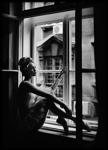 Ballerina In Window Poster in the group Posters & Prints / Black & white at Desenio AB (2297)