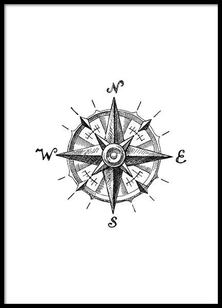 Compass Poster in the group Posters & Prints / Black & white at Desenio AB (2305)