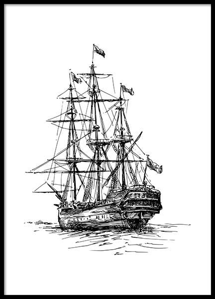 Illustrated Ship Poster in the group Posters & Prints / Nautical at Desenio AB (2306)