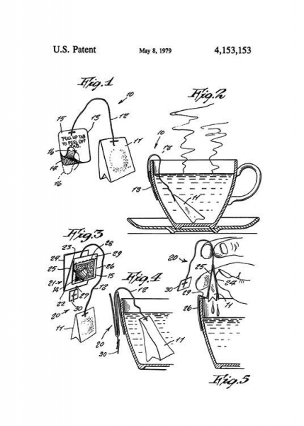 Tea Bag Patent Poster in the group Posters & Prints / Vintage at Desenio AB (2342)
