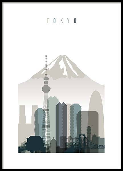 Tokyo Skyline Poster in the group Posters & Prints / Maps & cities at Desenio AB (2350)