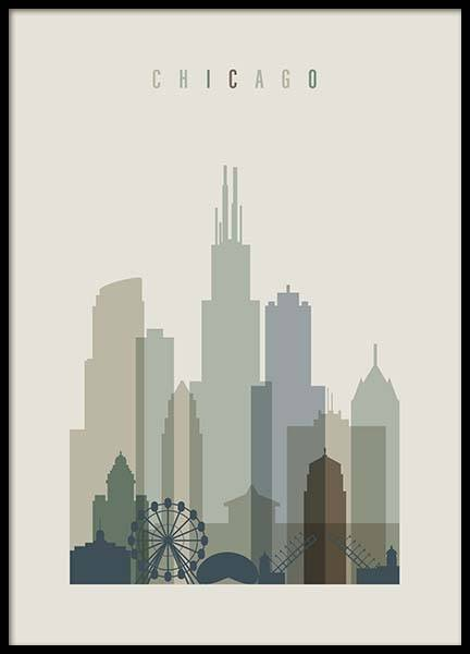 Chicago Skyline Poster in the group Posters & Prints / Handpicked / Art Prints Vicky at Desenio AB (2353)