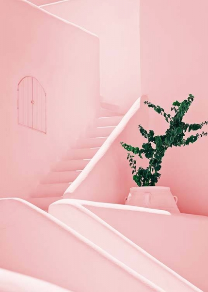 Pink stairs Poster in the group Posters & Prints / Sizes / 50x70cm | 19,7x27,6 at Desenio AB (2425)