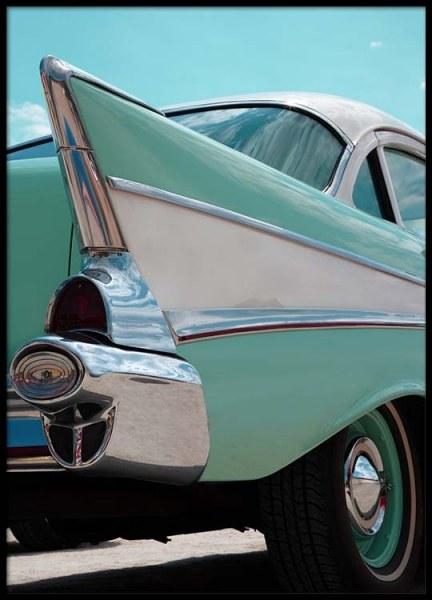 Mint Blue Car Poster