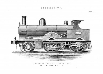Vintage Locomotive Poster in the group Posters & Prints / Black & white at Desenio AB (2452)