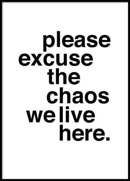 Please Excuse The Chaos Poster in the group Posters & Prints / Text posters at Desenio AB (2479)