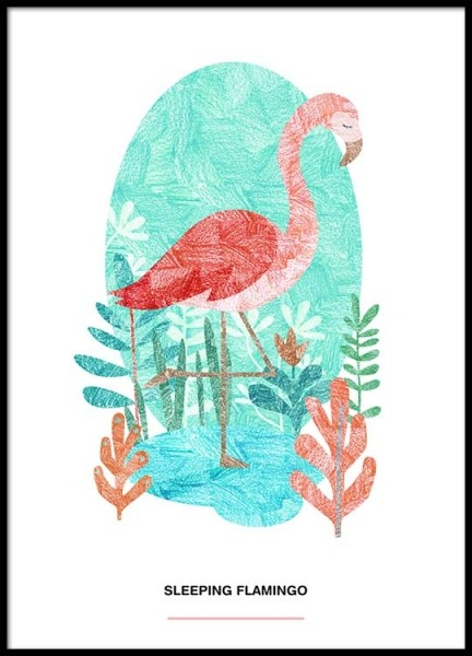 Sleeping Flamingo Poster in the group Posters & Prints / Illustrations at Desenio AB (2526)