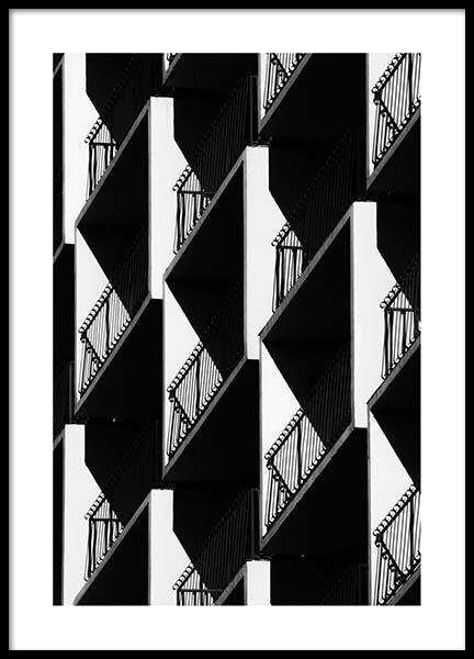 Graphic Balconies Poster in the group Posters & Prints / Black & white at Desenio AB (2550)