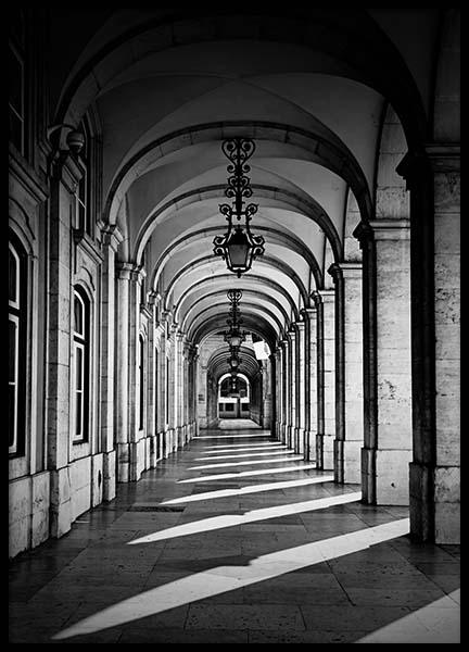Arched Corridor Poster in the group Posters & Prints / Black & white at Desenio AB (2564)