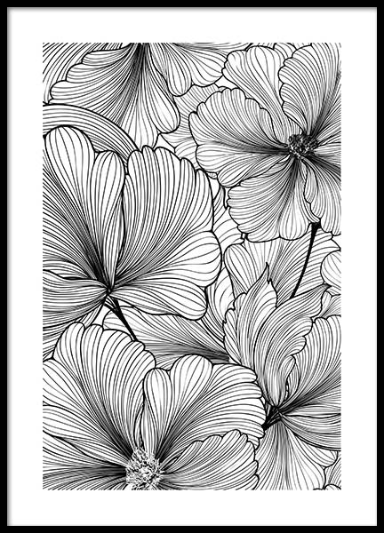 Floral Pattern Poster in the group Posters & Prints / Black & white at Desenio AB (2575)