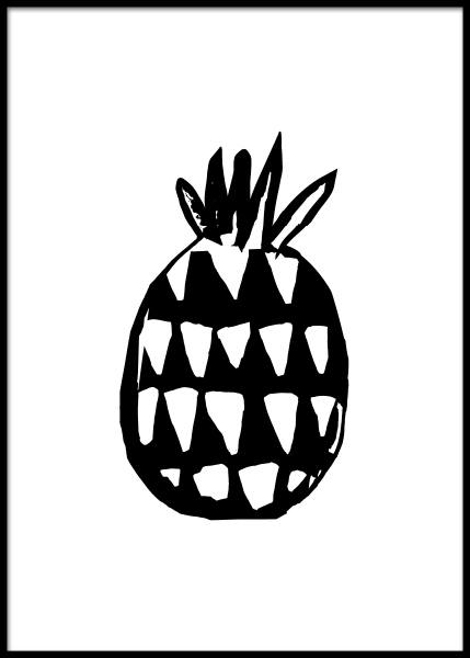 Pineapple Three Poster in the group Posters & Prints / Illustrations at Desenio AB (2579)