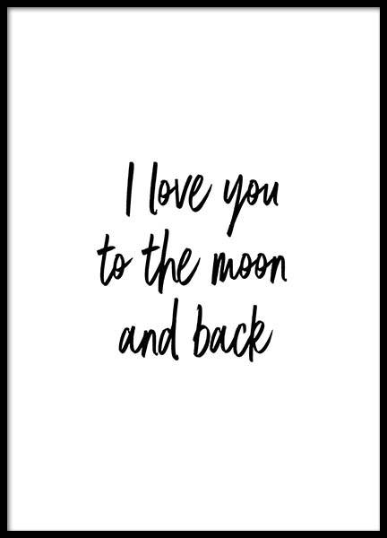 To The Moon And Back Poster in the group Posters & Prints / Text posters at Desenio AB (2604)