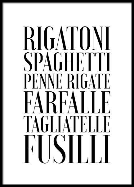 Pasta Poster in the group Posters & Prints / Text posters at Desenio AB (2656)