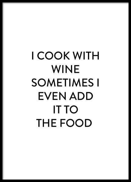 Cook with wine Poster in the group Posters & Prints / Sizes / 30x40cm | 11,8x15,7 at Desenio AB (2659)
