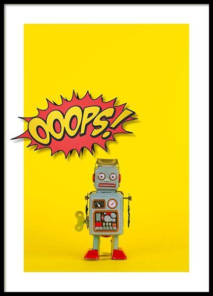 Ooops Robot Poster in the group Posters & Prints / Kids posters at Desenio AB (2692)