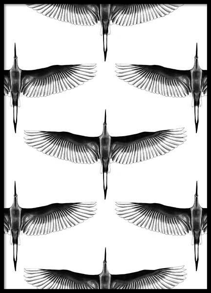 Crane Pattern Poster in the group Posters & Prints / Black & white at Desenio AB (2740)