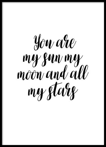 My Sun My Moon Poster in the group Posters & Prints / Typography & quotes at Desenio AB (2774)