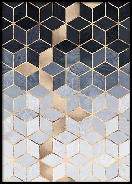 Gradient Cubes Poster