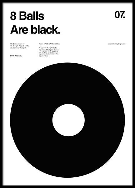8 Balls Are Black Poster in the group Posters & Prints / Graphical at Desenio AB (2988)