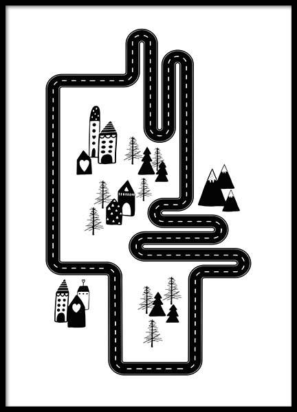 Car Track City Poster in the group Posters & Prints / Kids posters at Desenio AB (3118)
