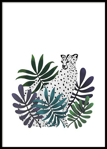 Jungle Cat Poster in the group Posters & Prints / Illustrations at Desenio AB (3145)