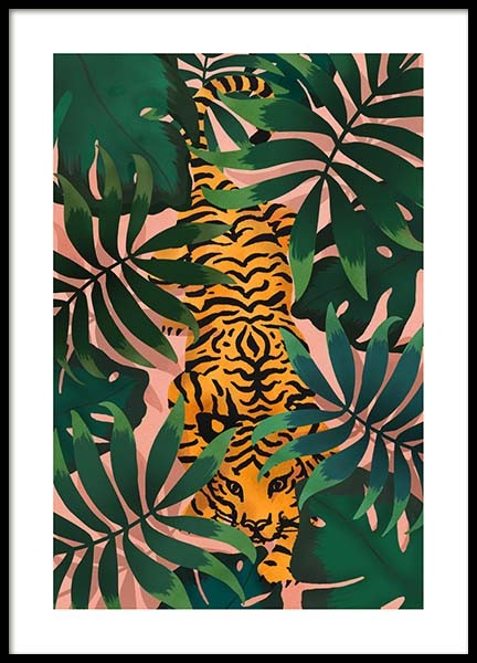 Tiger In Jungle Poster in the group Posters & Prints / Illustrations at Desenio AB (3147)