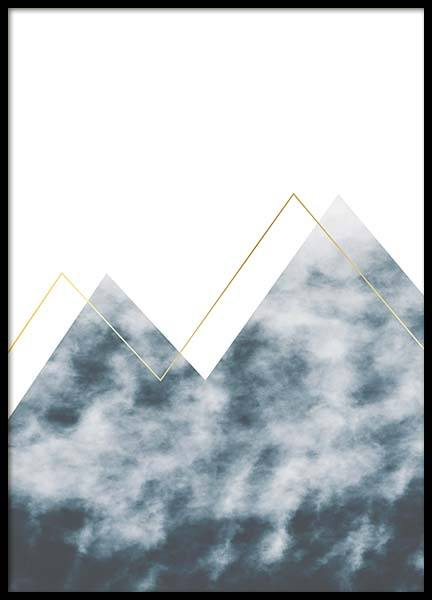 Graphic Mountain No2 Poster in the group Posters & Prints / Gold & silver at Desenio AB (3173)