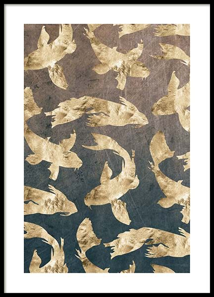 Golden Fishes Pattern Poster in the group Posters & Prints / Graphical at Desenio AB (3183)