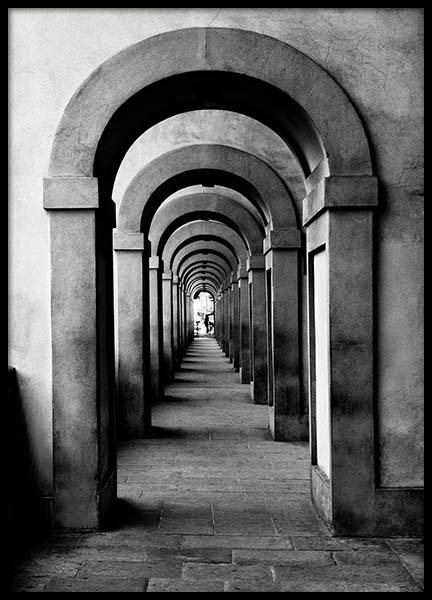 Arched Passageway Poster in the group Posters & Prints / Black & white at Desenio AB (3293)