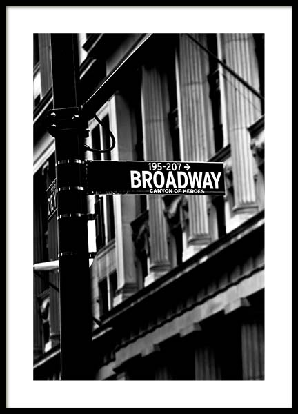 Broadway Poster in the group Posters & Prints / Black & white at Desenio AB (3295)